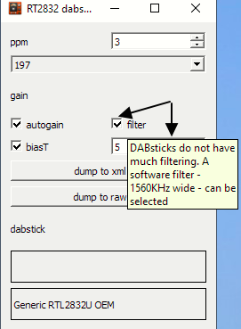 New filter setting with RTL-SDR